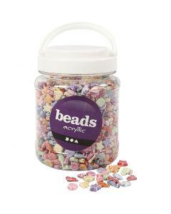 Perles Pastel mix, dim. 9-12 mm, diamètre intérieur 1,2 mm, 700 ml/ 1 boîte