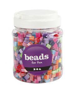 Perles Multi Mix, dim. 8x8 mm, diamètre intérieur 2,5 mm, 700 ml/ 1 boîte