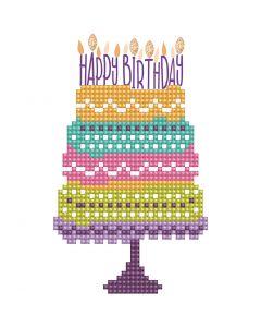 Diamond Dotz, Gâteau Happy Birthday, dimension carte 12,6x17,7 cm, dimension enveloppes 13,6x18,6 cm, 1 Pq.