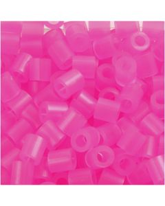 Perles à repasser, dim. 5x5 mm, diamètre intérieur 2,5 mm, medium, rose néon (32257), 1100 pièce/ 1 Pq.