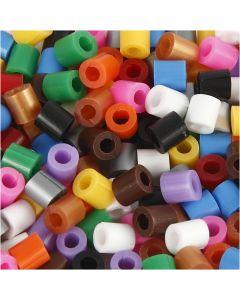 Perles à repasser Nabbi avec entaille MIDI, dim. 5x5 mm, diamètre intérieur 2,5 mm, medium, couleurs classiques, 1100 ass./ 1 Pq.