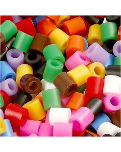Perles à repasser, dim. 5x5 mm, diamètre intérieur 2,5 mm, medium, couleurs classiques, 5000 ass./ 1 seau