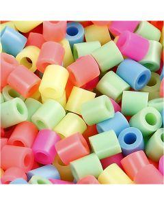 Perles à repasser, dim. 5x5 mm, diamètre intérieur 2,5 mm, medium, couleurs pastel, 30000 ass./ 1 Pq.