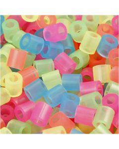 Perles à repasser, dim. 5x5 mm, diamètre intérieur 2,5 mm, medium, couleurs néons, 5000 ass./ 1 seau