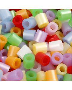 Perles à repasser, dim. 5x5 mm, diamètre intérieur 2,5 mm, medium, couleurs nacrées, 30000 ass./ 1 Pq.