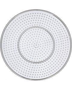 Plaque à picots, large rond, d: 15 cm, transparent, 10 pièce/ 1 Pq.