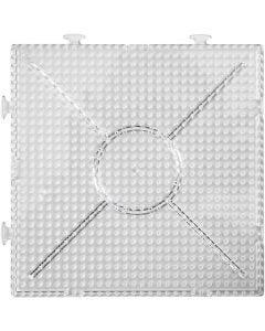 Plaque, Large carré, dim. 15x15 cm, transparent, 2 pièce/ 1 Pq.