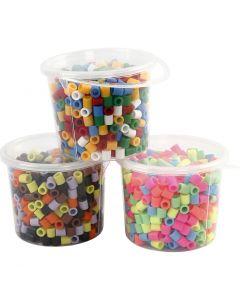 Perles à repasser, dim. 10x10 mm, diamètre intérieur 5,5 mm, JUMBO, couleurs assorties, 3x550 ass./ 1 Pq.