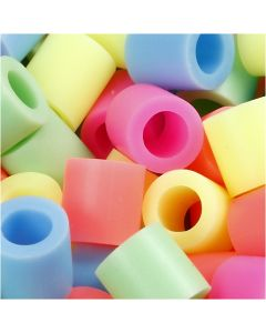 Perles à repasser, dim. 10x10 mm, diamètre intérieur 5,5 mm, JUMBO, couleurs pastel, 1000 ass./ 1 Pq.