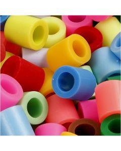 Perles à repasser, dim. 10x10 mm, diamètre intérieur 5,5 mm, JUMBO, couleurs assorties, 2450 ass./ 1 seau