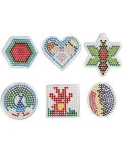 Plaque à picots, géométrique, dim. 7x7,5-10,5x9,5 cm, 6 pièce/ 1 Pq.