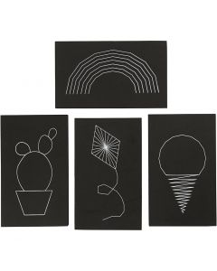 String Art, dim. 20x12 cm, ép. 10 mm, noir, 16 pièce/ 1 Pq.