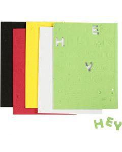 Feuilles de mousse EVA, dim. 2-2,3 cm, couleurs assorties, 5 flles/ 1 Pq.