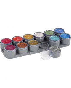 Palette de maquillage pour visage à base d'eau, couleurs nacrées, 12x15 ml/ 1 pièce