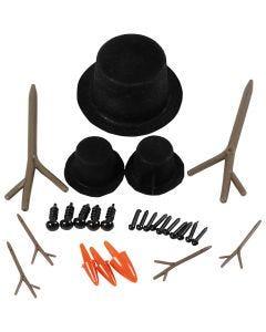 Chapeaux, nez et branches, dim. 2,3-7 cm, 3 set/ 1 Pq.