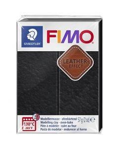 Pâte FIMO® effet cuir, black (909), 57 gr/ 1 Pq.