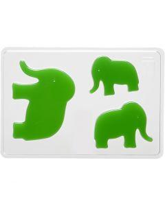 Moule décoratif, éléphant, H: 6+8+10 cm, dim. 14,9x22 cm, 1 pièce