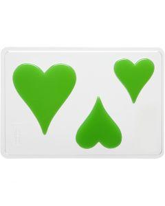 Moule décoratif, coeur, H: 6+8+10 cm, dim. 14,9x22 cm, 1 pièce