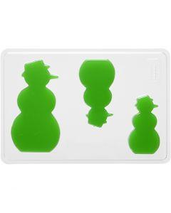 Moule décoratif, bonhomme de neige, H: 6+8+10 cm, dim. 14,9x22 cm, 1 pièce