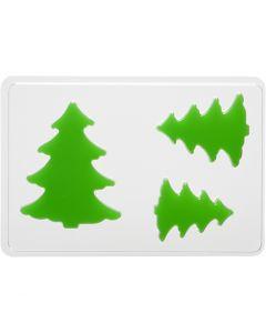 Moule décoratif, sapins, H: 6+8+10 cm, dim. 14,9x22 cm, 1 pièce