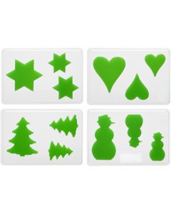 Moules décoratifs, Noël, H: 6+8+10 cm, dim. 14,9x22 cm, 4 pièce/ 1 Pq.