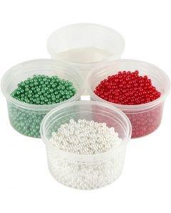 Pearl Clay®, vert, rouge, blanc, 1 set