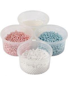 Pearl Clay®, bleu clair, rouge clair, blanc cassé, 1 set