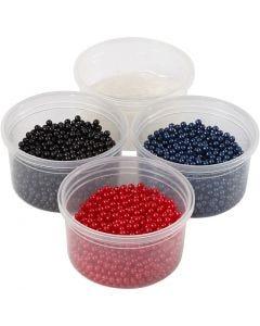 Pearl Clay®, noir, bleu, rouge, 1 set