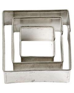 Emporte-pièces, Carré, dim. 20+30+40 mm, 3 pièce/ 1 Pq.