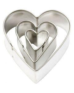 Emporte-pièces, Coeur, dim. 40x40 mm, 3 pièce/ 1 Pq.