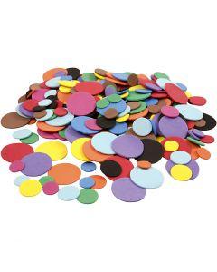 Mousse Eva cercles, d: 12+20+32 mm, couleurs assorties, 2120 ass./ 1 Pq.