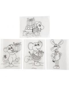 Feuilles de plastique thermorétractable avec motifs, 10,5x14,5 cm, transparent mat, 4 flles/ 1 Pq.