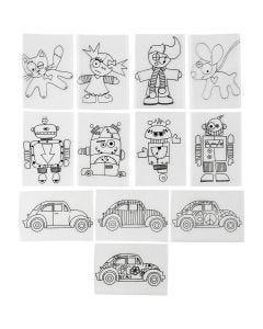 Feuilles de plastique thermorétractable avec motifs, 10,5x14,5 cm, transparent mat, 36 flles/ 1 Pq.