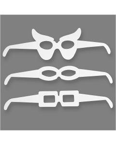 Lunettes, H: 4,5-10 cm, L: 32 cm, 230 gr, blanc, 16 pièce/ 1 Pq.
