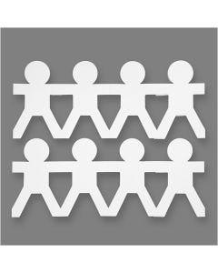 Guirlande garçons, H: 12 cm, L: 45 cm, 230 gr, blanc, 16 pièce/ 1 Pq.