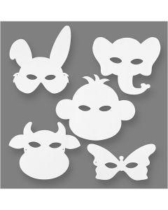 Masques d'animaux, H: 13-24 cm, L: 20-28 cm, 230 gr, blanc, 16 pièce/ 1 Pq.
