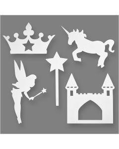 Conte de fée, H: 13,5-27,5 cm, L: 9,5-25 cm, 230 gr, blanc, 16 pièce/ 1 Pq.