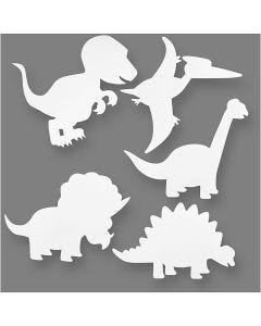 Dinosaures, H: 15-22 cm, L: 24-25 cm, 230 gr, blanc, 16 pièce/ 1 Pq.