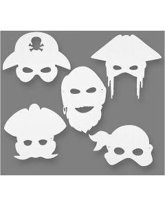 Masques de pirates, H: 16-26 cm, L: 17,5-26,5 cm, 230 gr, blanc, 16 pièce/ 1 Pq.
