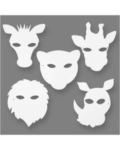Masques d'animaux de la jungle, H: 22,5-25 cm, L: 20,5-22,5 cm, 230 gr, blanc, 16 pièce/ 1 Pq.