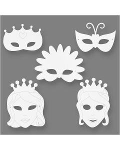 Masques conte de fée, H: 13,5-25 cm, L: 17-25 cm, 230 gr, blanc, 16 pièce/ 1 Pq.