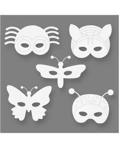 Masques insectes, H: 14-17 cm, L: 19,5-23 cm, 230 gr, blanc, 16 pièce/ 1 Pq.