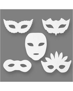 Masques de théâtre, H: 8,5-19 cm, L: 15-20,5 cm, 230 gr, blanc, 16 pièce/ 1 Pq.