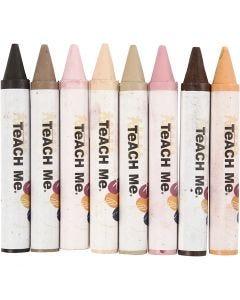 Pastels de cire, L: 10 cm, d: 15 mm, skin colours, 8 pièce/ 1 Pq.