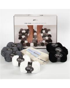 Kit de laine DIY - Pompons pour décoration, brun gris, 1 set/ 1 boîte