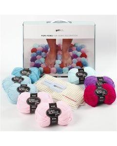 Kit de laine DIY - Pompons pour décoration, vert mousse, 1 set/ 1 boîte