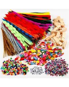 Amusement avec pinces et chemilles, couleurs assorties, 1 set