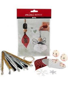 Mini kit créatif, figurines poinçonnées pour la confection de décorations à suspendre, 1 set