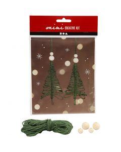 Mini kit créatif, sapin de Noël en macramé, H: 11 cm, 2 pièce/ 1 set