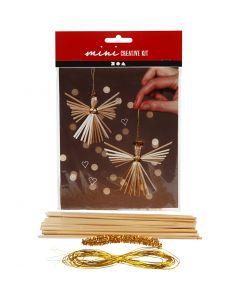 Mini kit créatif, anges de paille, H: 8 cm, 1 set
